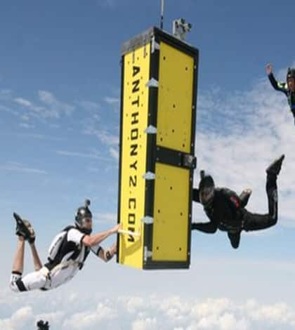 Escape artist completes skydiving box escape