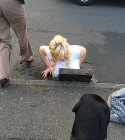Girl rescued from drain